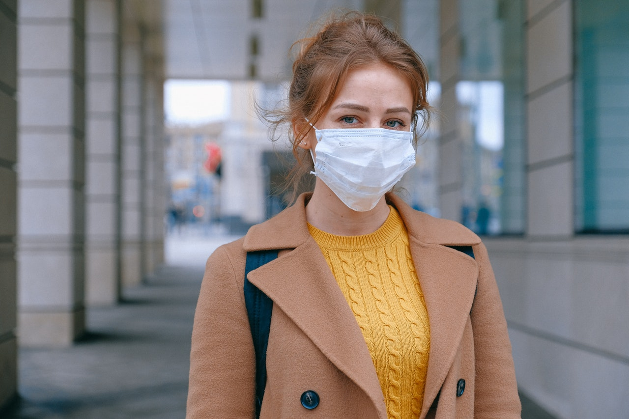 woman wearing a protecting face mask