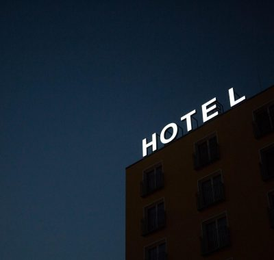 Hotel sign during winter